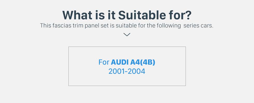 Seicane Black 1Din 2001 2002 2003 2004 Audi A4 4B Car Radio Fascia Face Plate Panel DVD Frame Stereo Dash Kit