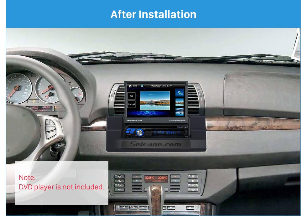 Seicane High Quality 1DIN 1996-2006 BMW 5 E39 X5 E53 Car Radio Fascia Dash DVD Player Trim Installation Kit Install Frame