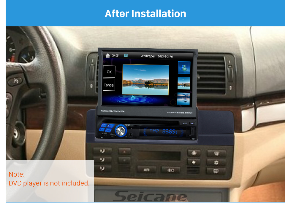 Seicane High quality One DIN 2003-2005 BMW 3 E46 Car Radio Fascia Dash Panel Stereo Frame DVD Player Trim Refitting Kit