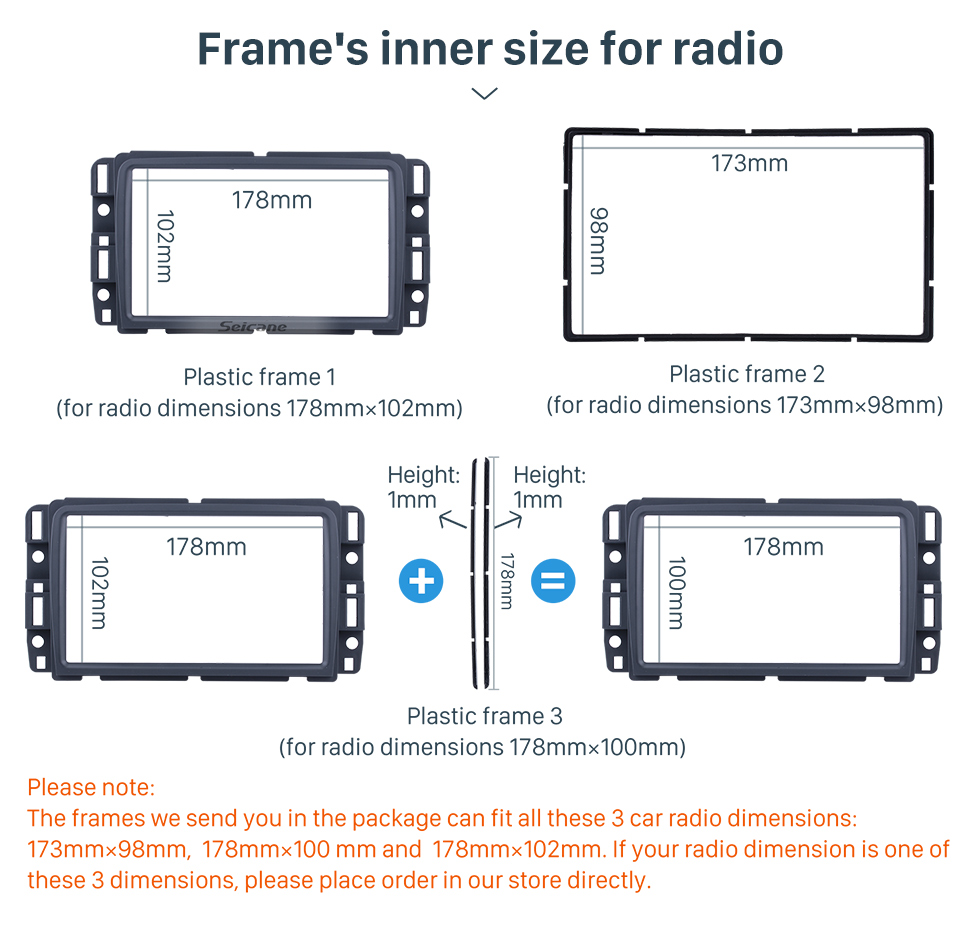 Seicane DOUBLE DIN 2013+ Chevrolet Traverse BUICK Enclave GMS Acadia Car Radio Fascia Dash Install Face Plate Trim Panel Modified Car Kit Frame