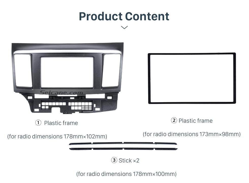 Seicane 2Din 2010 Mitsubishi Fortis Lancer Car Radio Fascia With Silver Stripe Trim Installation Kit Auto Stereo Dashboard Panel