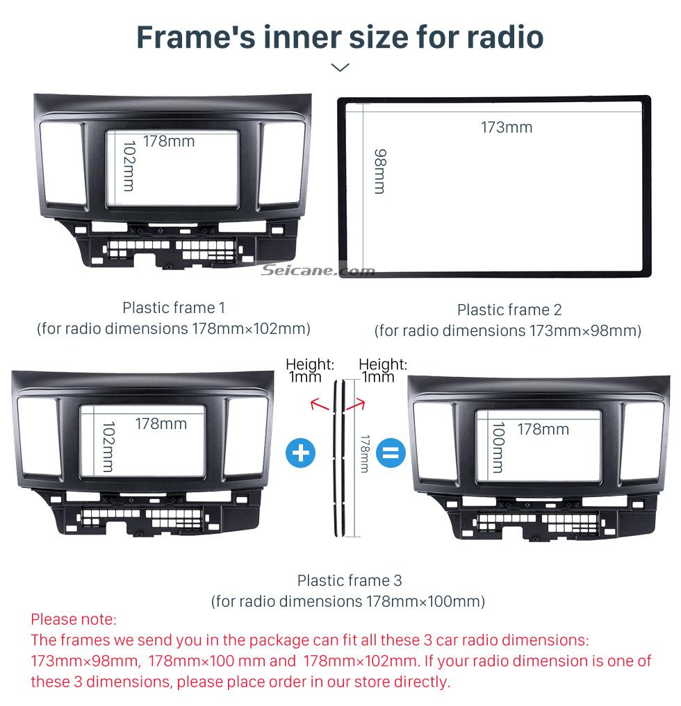Seicane Good Quality Black 2 Din 2010 Mitsubishi Fortis Lancer Car Radio Fascia Auto Stereo Installation Frame CD Trim Panel