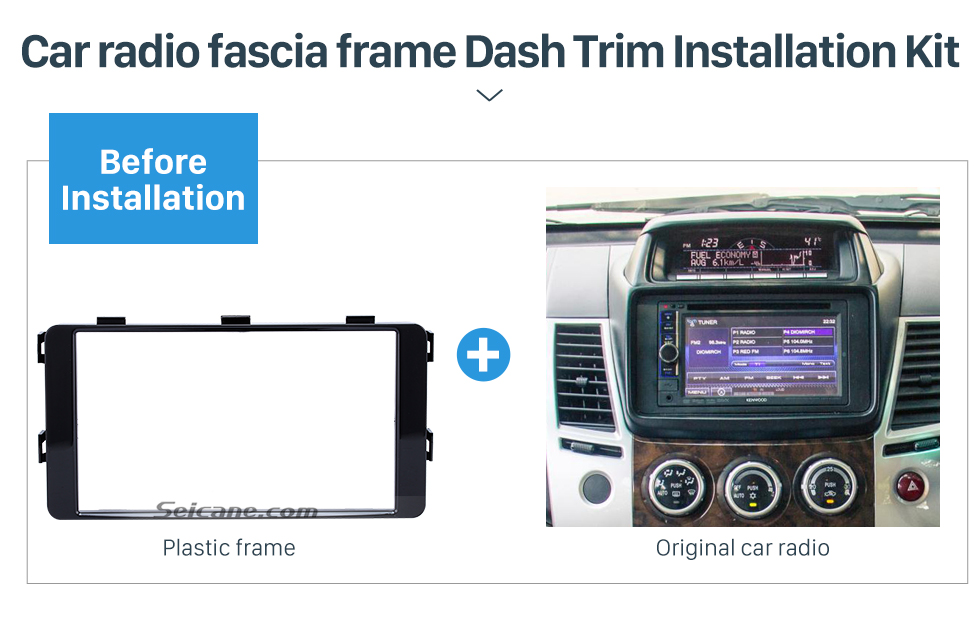 Seicane Fantastic Double Din 2015 Mitsubishi Pajero Sport Triton Car Radio Fascia Trim Dash CD Installation Kit Frame Panel
