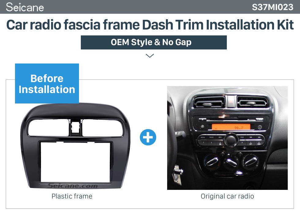 Seicane Excellent 2Din 2012 Mitsubishi Mirage Car Radio Fascia DVD Player Trim Installation Kit Audio Frame