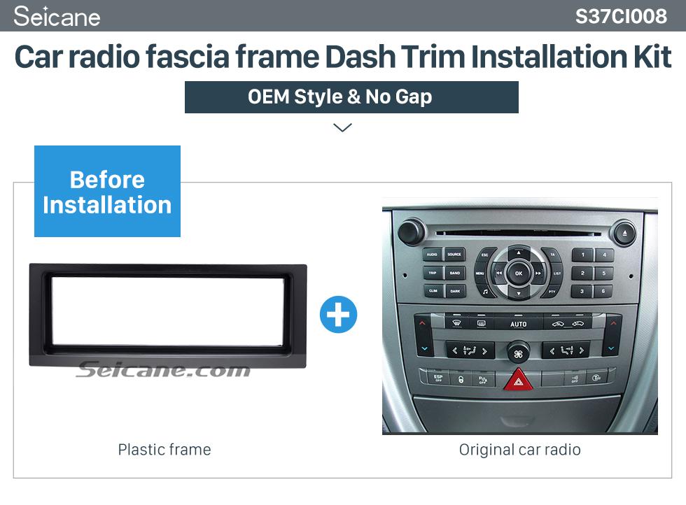 Seicane Noir 1DIN 2005+ Citroen C5 Car Radio Fascia Dash Panel Stereo Frame Mont Fitting Installation Kit