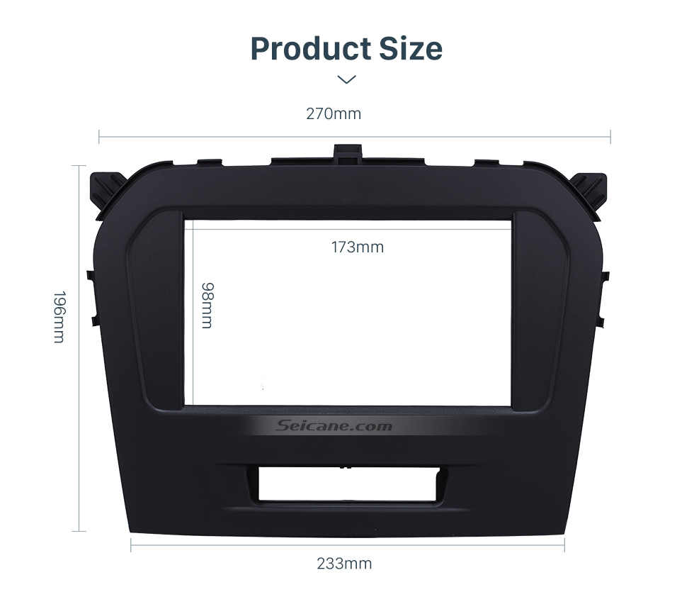 Seicane Black Double Din 2015 Suzuki Vitara Car Radio Fascia Dash Kit Surround Panel Decorative Frame Face Plate