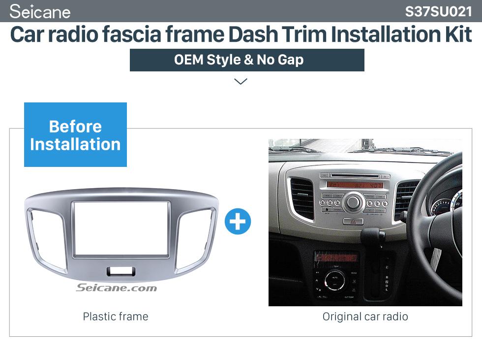 Car radio fascia frame Dash Trim Installation Kit  Silver Double Din 2015 Suzuki Wagon Car Radio Fascia DVD Frame Stereo Player Fit Installation Panel Plate