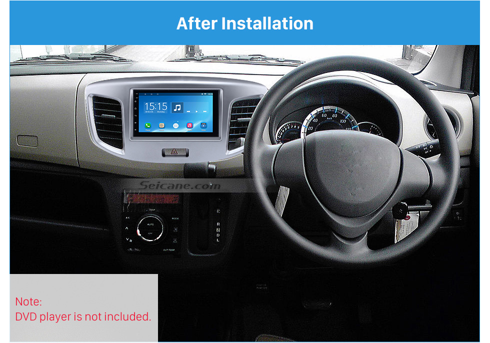 After Installation Silver Double Din 2015 Suzuki Wagon Car Radio Fascia DVD Frame Stereo Player Fit Installation Panel Plate