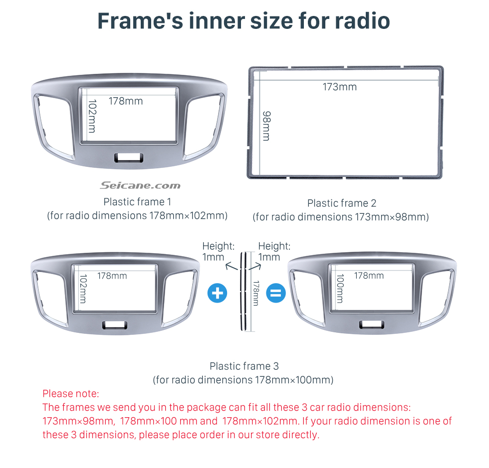 Frame's inner size for radio Silver Double Din 2015 Suzuki Wagon Car Radio Fascia DVD Frame Stereo Player Fit Installation Panel Plate