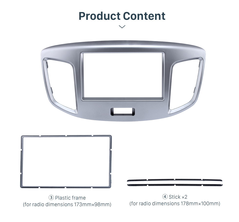 Product Content Silver Double Din 2015 Suzuki Wagon Car Radio Fascia DVD Frame Stereo Player Fit Installation Panel Plate