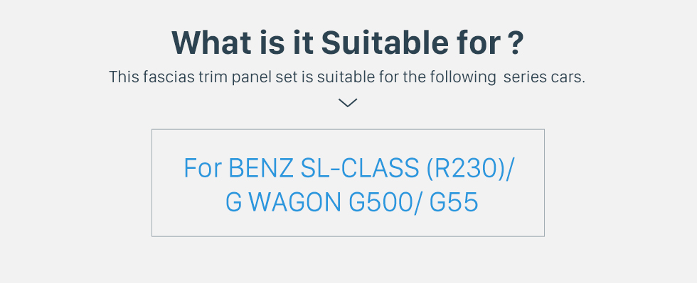 What is it Suitable for? Delicate Double Din BENZ SL-CLASS (R230)/ G WAGON G500/ G55 Car Radio Fascia Stereo Dash Frame Panel Audio Fitting Adaptor