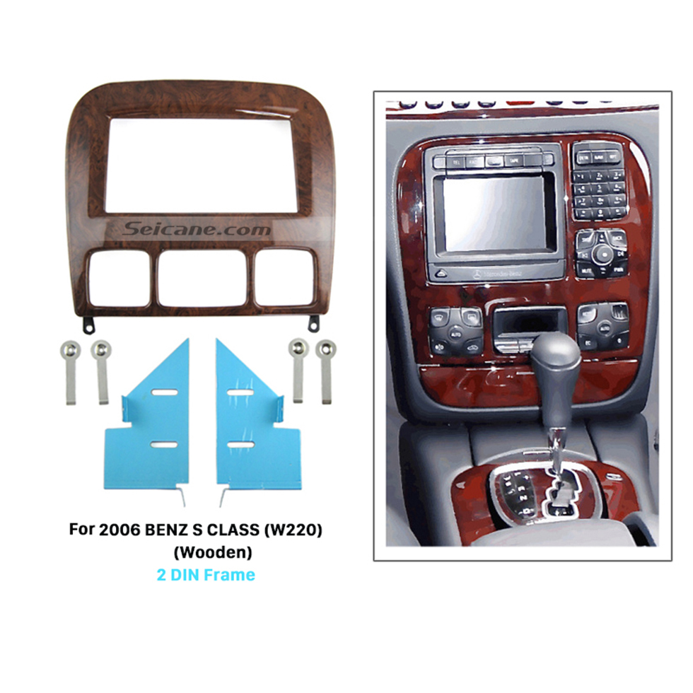 Seicane Wooden Color Double Din 2006 Mercedes BENZ S CLASS W220 Car Radio Fascia Dash Installation Kit Audio Frame CD Trim Panel