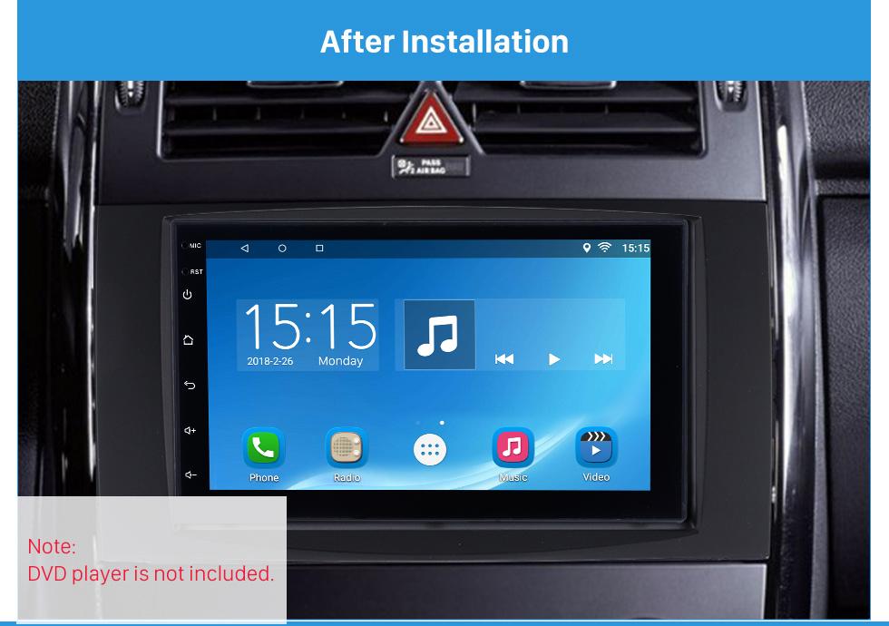 After Installation Black 2 Din 2006 Benz Sprinter/ Volkswagen Crafter Car Radio Fascia DVD Panel Installation Trim Dash Kit Audio Cover Frame