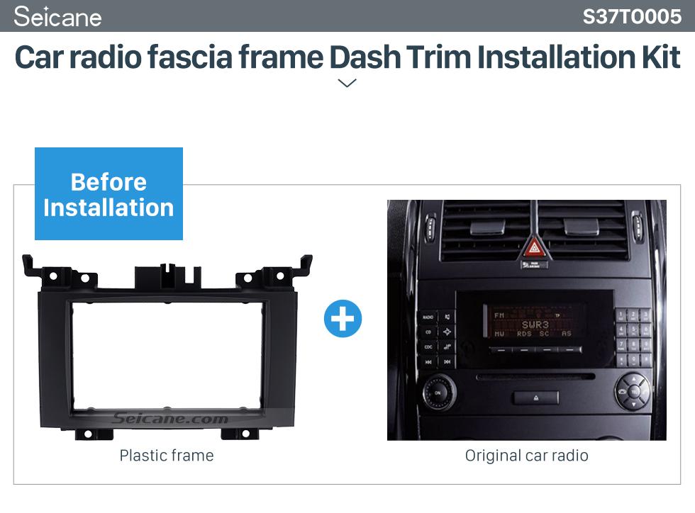Car radio fascia frame Dash Trim Installation Kit Black 2 Din 2006 Benz Sprinter/ Volkswagen Crafter Car Radio Fascia DVD Panel Installation Trim Dash Kit Audio Cover Frame