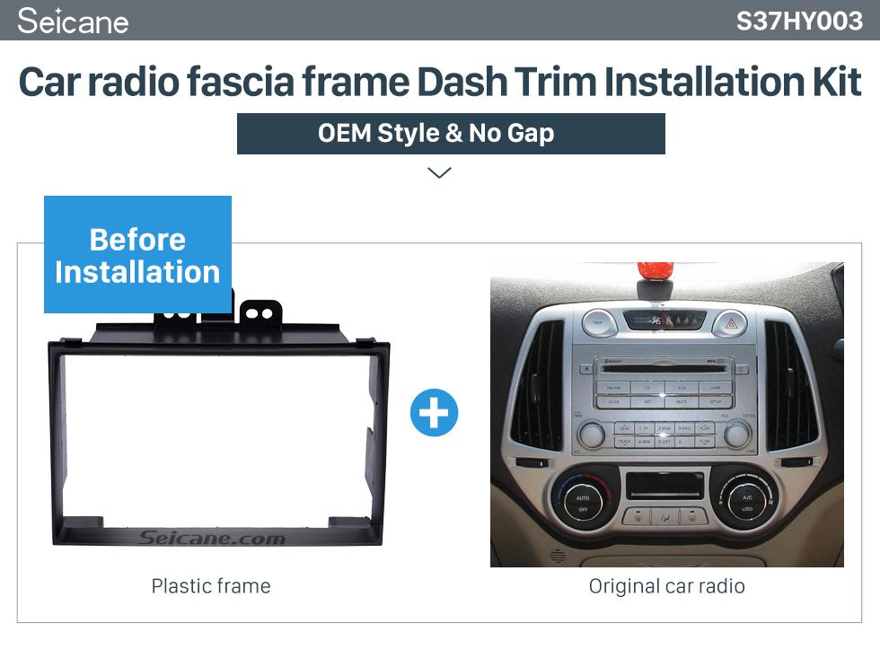 Seicane Excellent Black Double Din 2008+ Hyundai i-20 Car Radio Fascia Plate Frame Installation Kit DVD Stereo Player