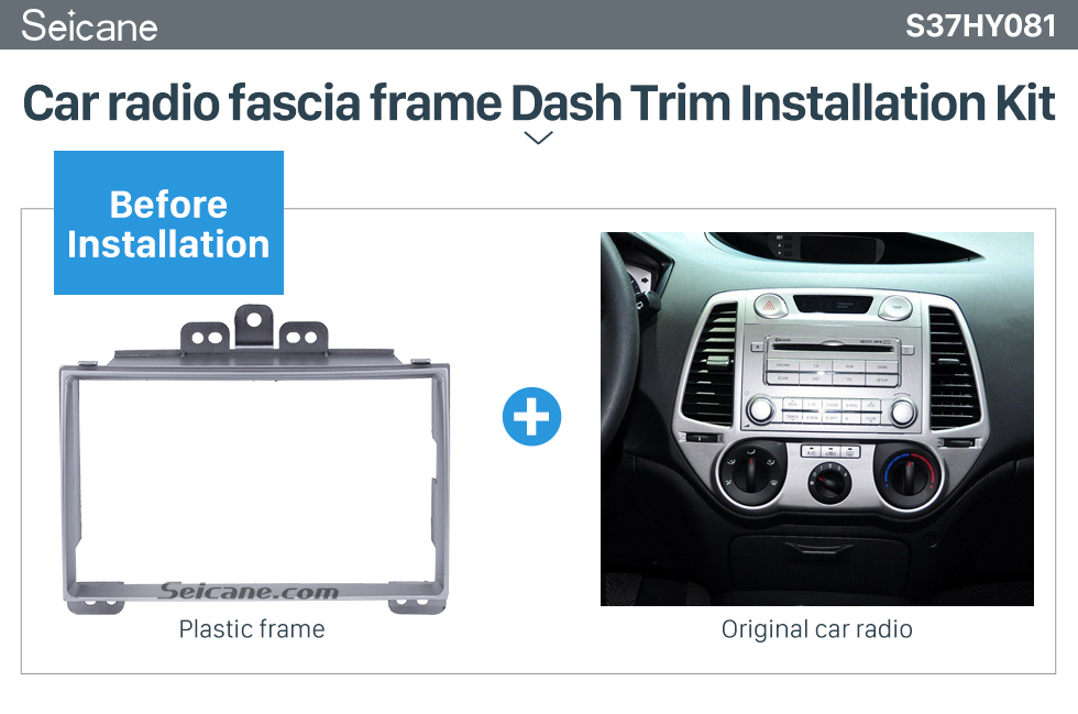 Seicane Beautiful Silver 2Din 2008+ Hyundai i-20 Car Radio Fascia Stereo Install CD Trim Fitting Frame Adapter