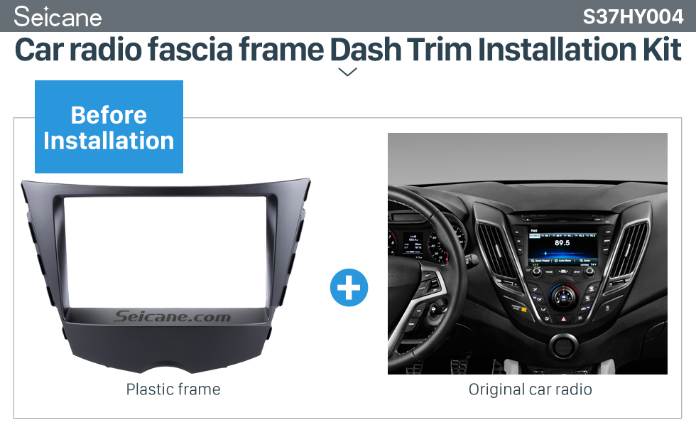 Seicane Popular Double Din 2011 Hyundai Veloster Car Radio Fascia Auto Stereo Adapter CD Trim DVD panel frame