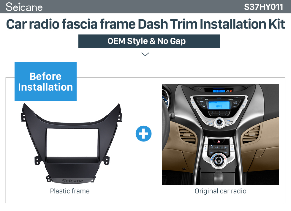 Seicane Perfect Double Din 2010 HYUNDAI ELANTRA Car Radio Fascia Surround Panel Fitting Frame Auto Stereo