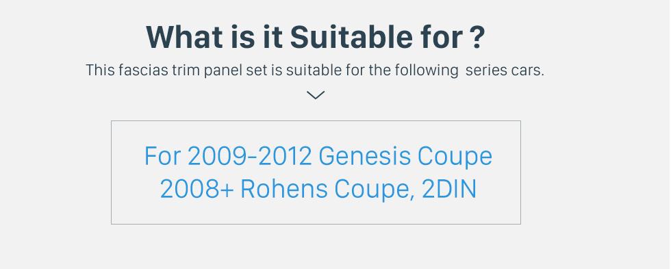 Seicane Argent 2Din 2009-2012 Genesis Coupé 2008 + Rohens Coupe Auto AC LHD Voiture Radio Fascia DVD Cadre Dash Installation Kit Audio Couverture