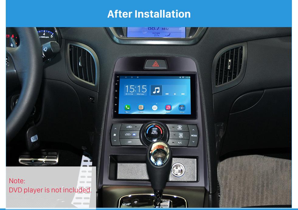 Seicane Black Double Din 2010 Hyundai Rohens Coupe Auto AC LHD Car Radio Fascia In Dash Mount Kit Audio Frame Cover Stereo Install