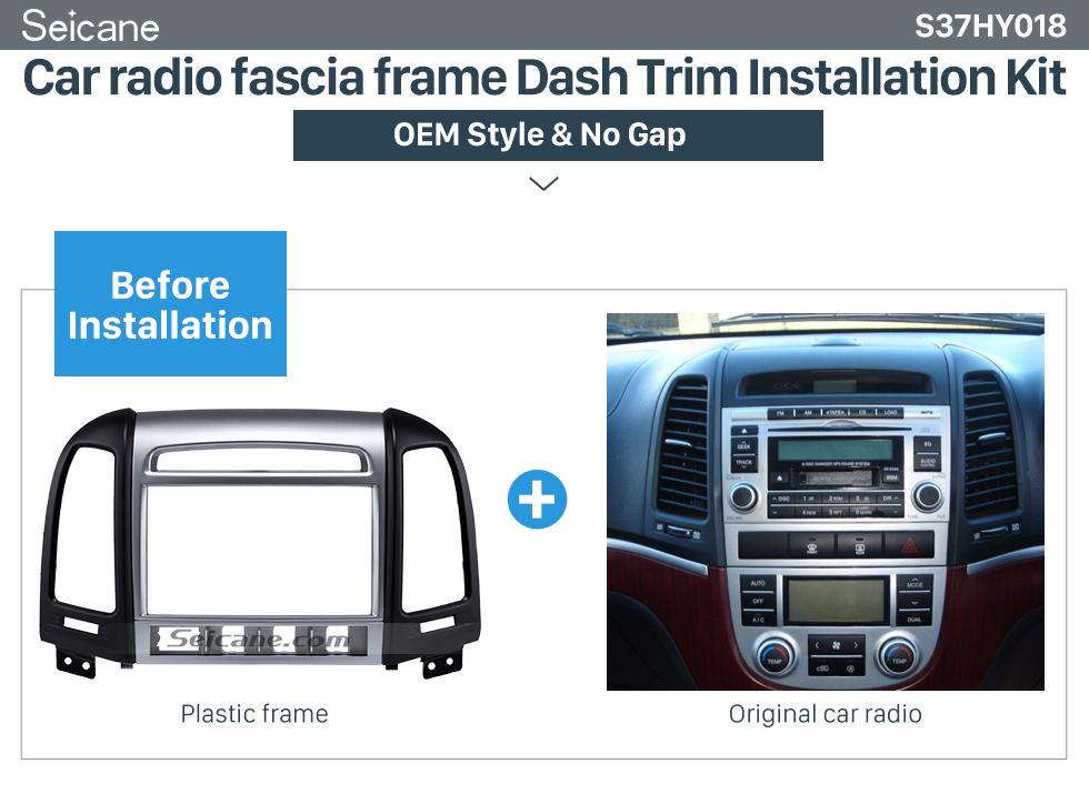 Car radio fascia frame Dash Trim Installation Kit  OEM Double Din 2007 HYUNDAI SANTAFE HIGH-END Car Radio Fascia Installation Trim Dash Kit Frame Panel Adapter