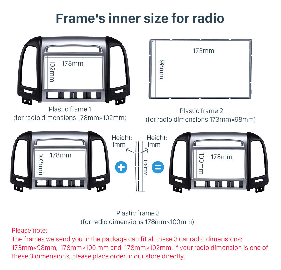 Frame's inner size for radio OEM Double Din 2007 HYUNDAI SANTAFE HIGH-END Car Radio Fascia Installation Trim Dash Kit Frame Panel Adapter