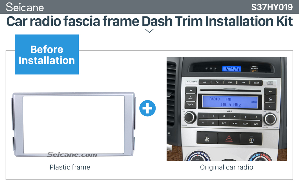 Seicane 173*98mm Double Din 2007 HYUNDAI SANTAFE Car Radio Fascia In Dash Mount Kit CD Trim Panel DVD Frame