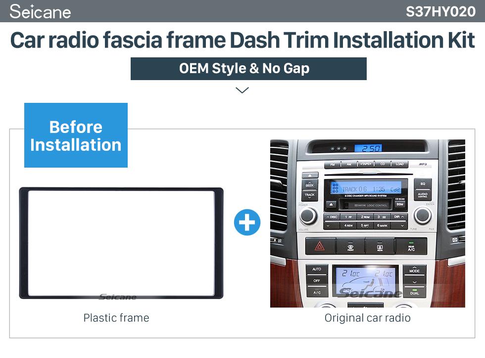 Seicane Exquisite Double Din 2008 HYUNDAI SANTAFE Car Radio Fascia Trim Installation Kit Car Dashboard Cover Frame Panel
