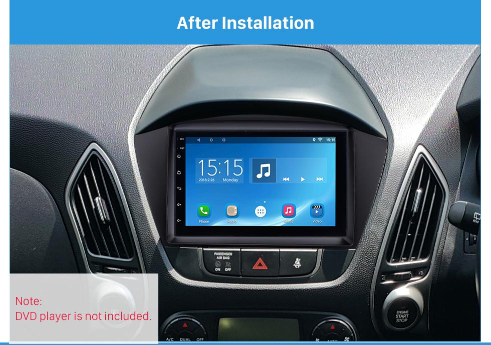 After Installation Stunning Double Din 2010 HYUNDAI TUCSON IX35 Car Radio Fascia Install Frame DVD panel Stereo Interface