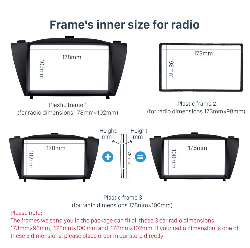 Frame's inner size for radio Stunning Double Din 2010 HYUNDAI TUCSON IX35 Car Radio Fascia Install Frame DVD panel Stereo Interface