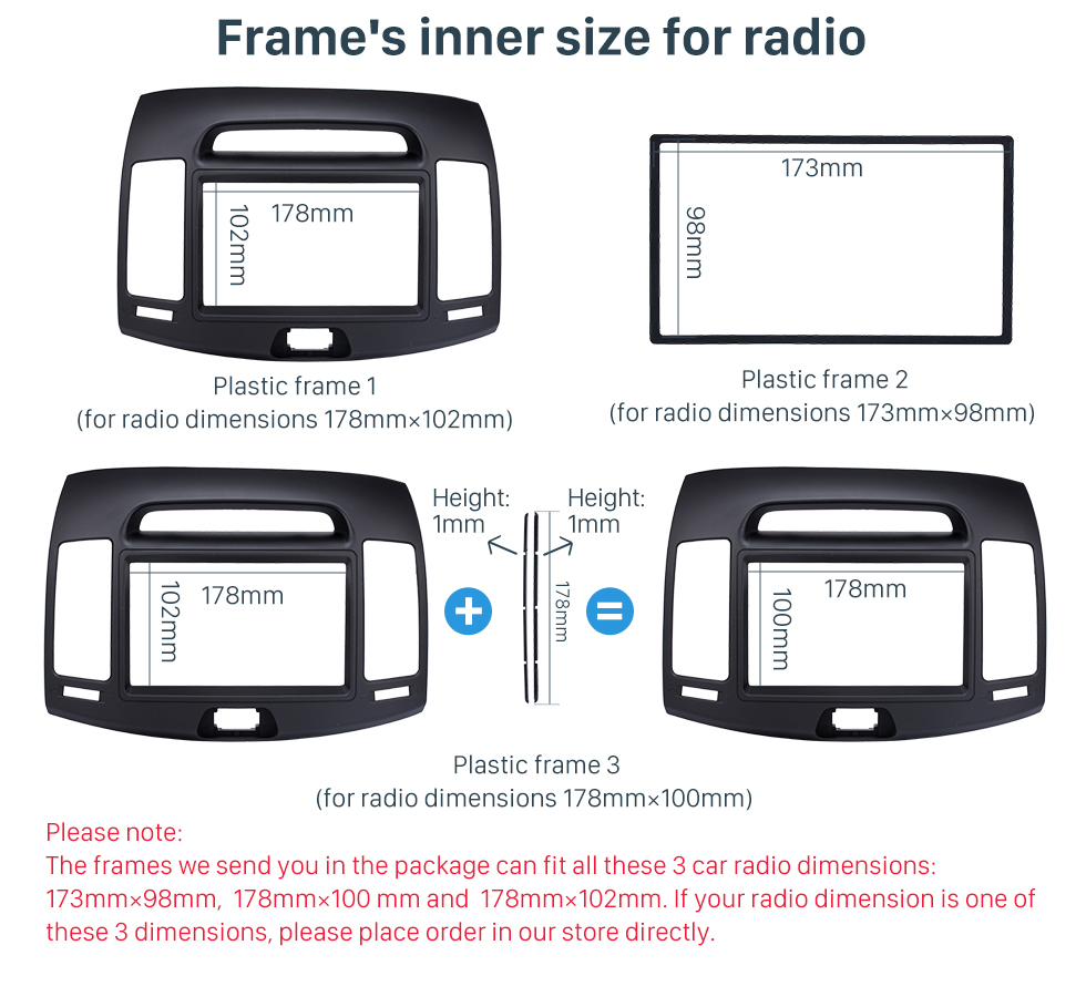 Seicane Double Din Car Radio Frame Fascia Dash Panel for 2006-2011 HYUNDAI ELANTRA (Korean, Black, LHD) Install Dash Bezel Trim Kit OEM Style No gap