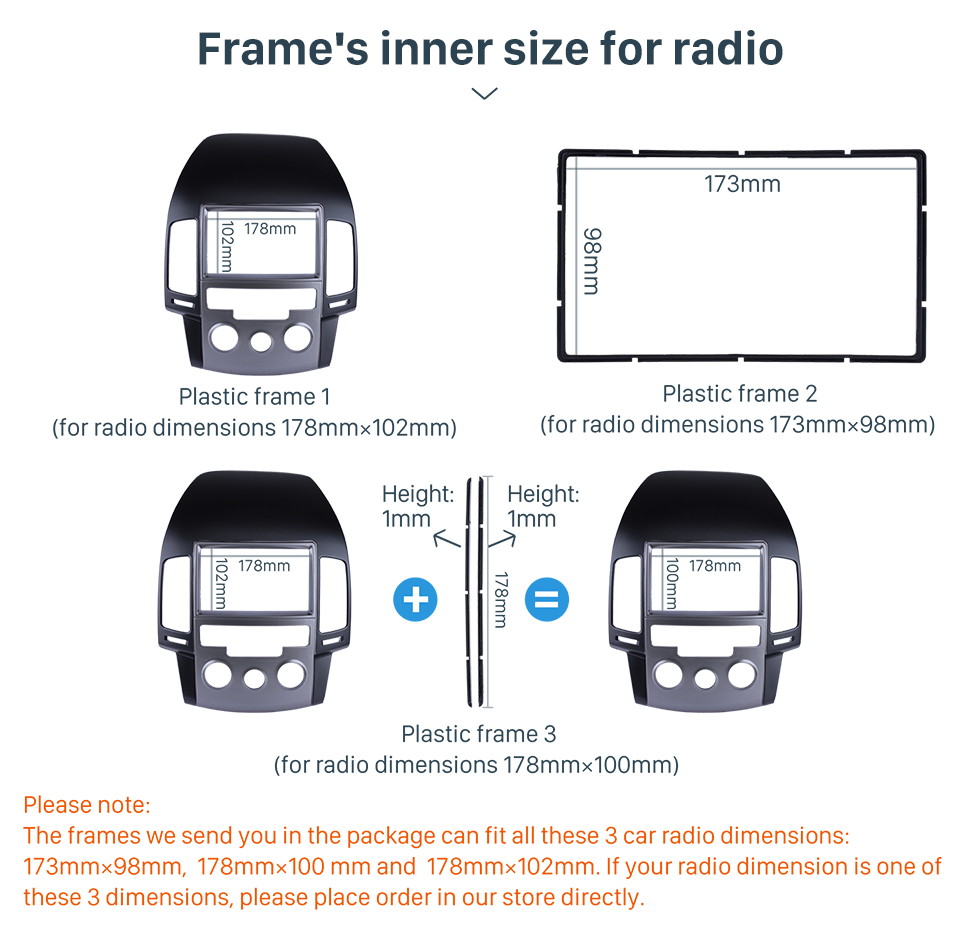 Seicane Newest Double Din 2009 HYUNDAI I-30 MANUAL AC KOREAN LHD Car Radio Fascia Dash Kit Install Frame Panel Plate