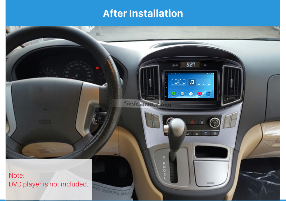 After Installation Preferred 2Din 2015 HYUNDAI STAREX H1 With Clock Version Car Radio Fascia Trim Bezel Frame Audio Player Face Plate