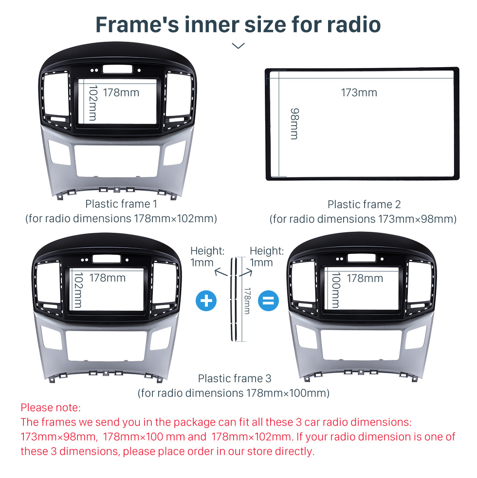 Frame's inner size for radio Preferred 2Din 2015 HYUNDAI STAREX H1 With Clock Version Car Radio Fascia Trim Bezel Frame Audio Player Face Plate