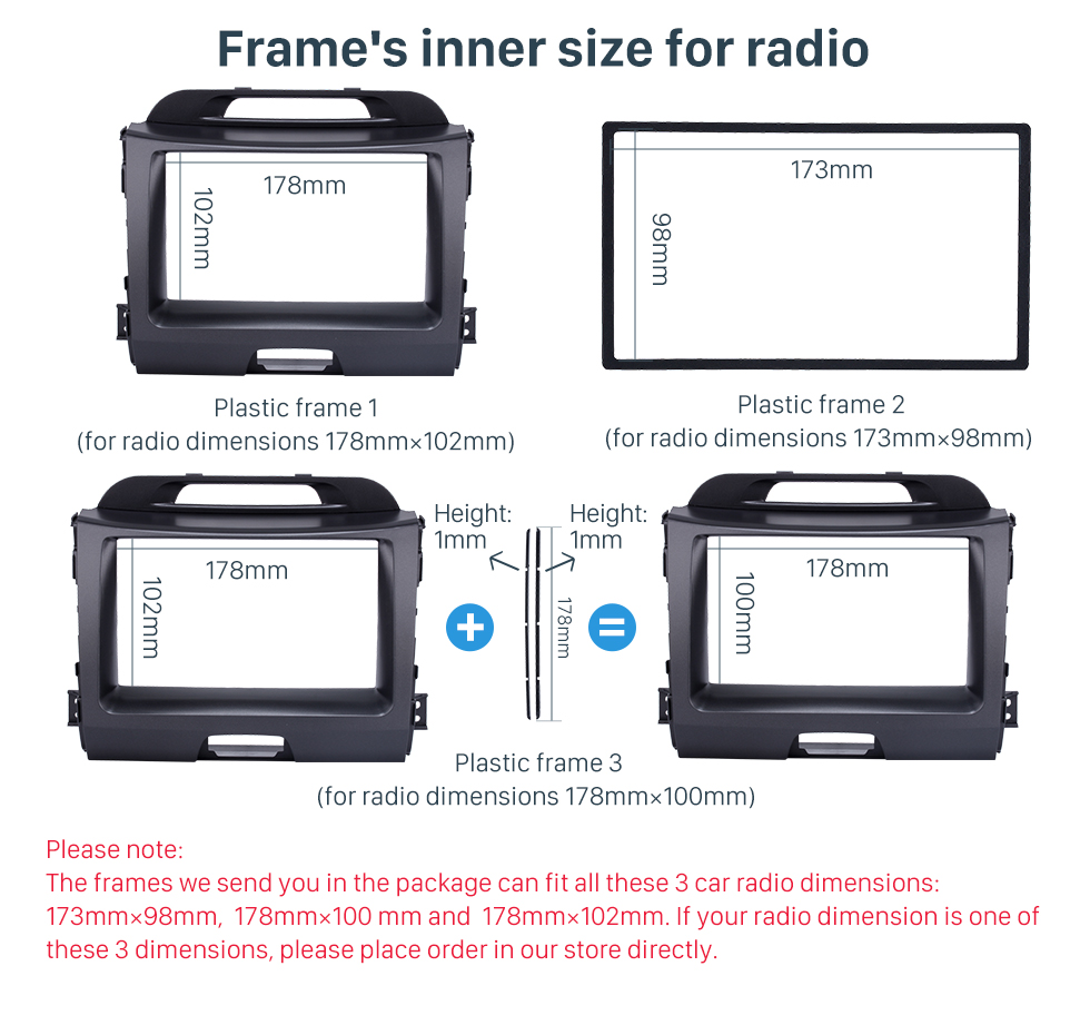 Seicane Superb Double Din 2010 KIA SPORTAGE Car Radio Fascia Stereo Interface Audio Fitting Frame Adaptor Trim Panel Kit