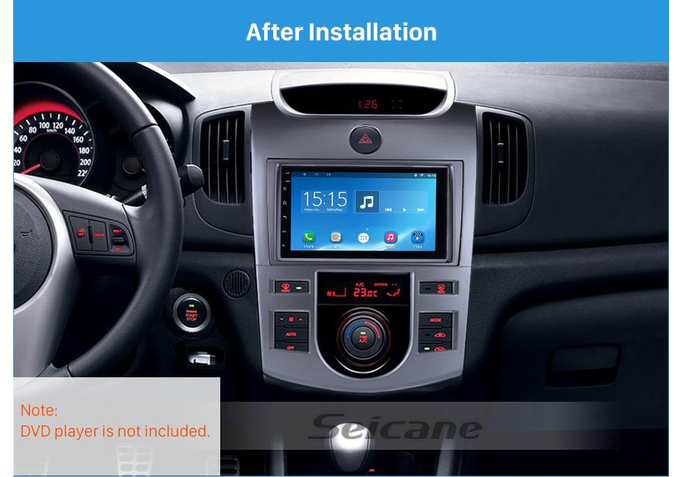 Seicane Silver Combination Double Din 2009 KIA FORTE Auto AC Car Radio Fascia Styling Panel Dash Mount Frame CD Trim
