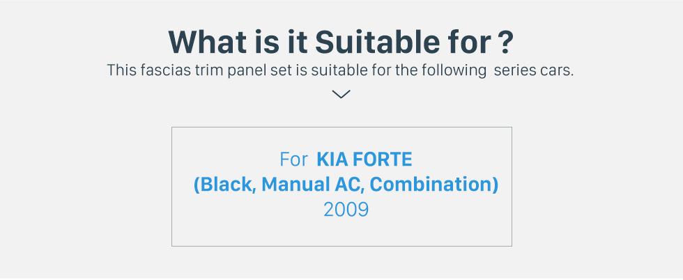 Seicane Black Combination Double Din 2009 KIA FORTE Manual AC Car Radio Fascia Dash CD Panel Frame Trim Bezel
