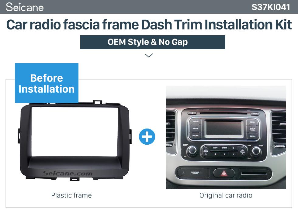 Seicane Black Double Din 2013 KIA CARENS Car Radio Fascia Trim Install Frame Audio Cover Panel kit