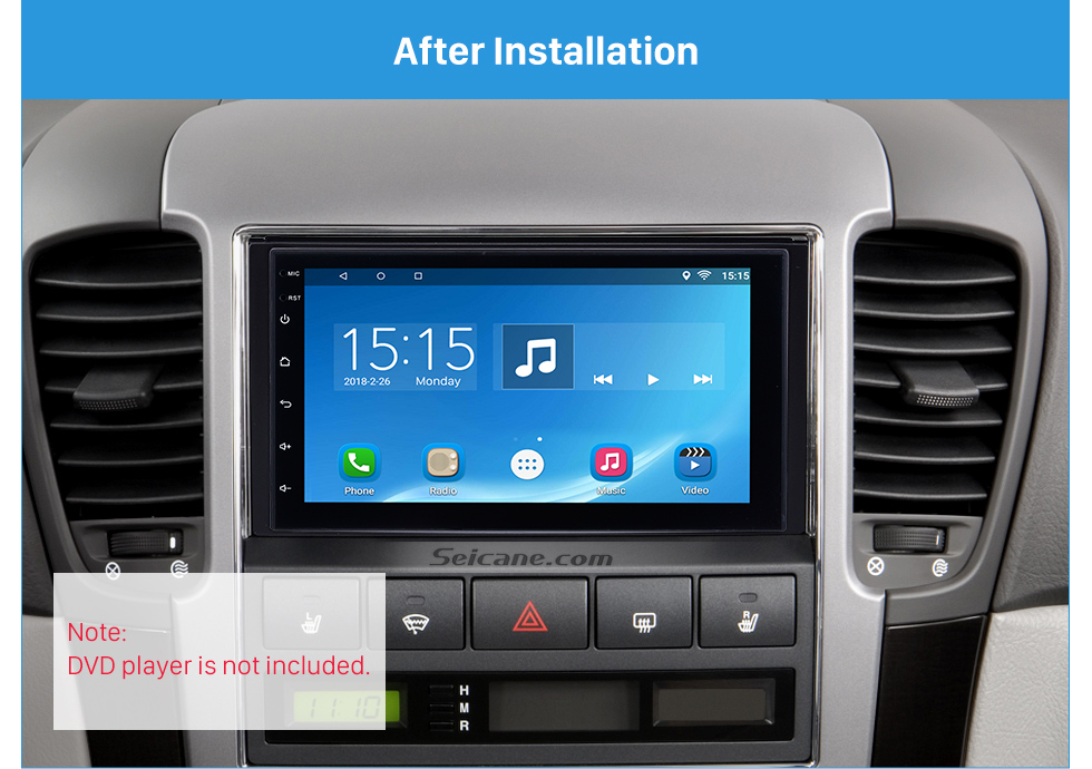 Seicane 173 * 98 mm Doble Din Radio Fascia Dash marco de montaje reinstalación del coche DVD Adaptador Autostereo 2007 KIA SORENTO del coche