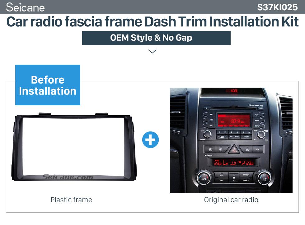 Car radio fascia frame Dash Trim Installation Kit Black Double Din 2010 KIA SORENTO Car Radio Fascia Trim Install Frame Autostereo Adapter Dash Kit