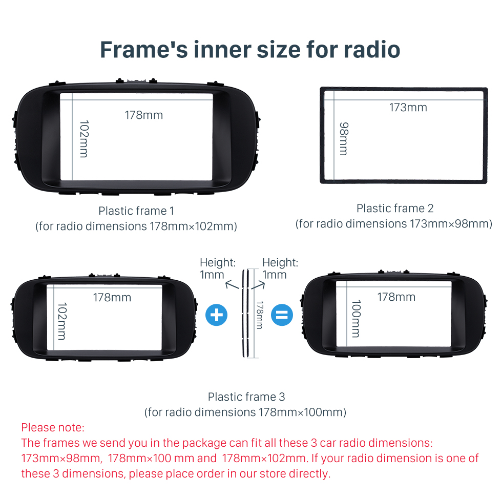 Frame's inner size for radio Black Double Din 2014 KIA SOUL Car Radio Fascia Dash Mount Kit Adapter CD Trim Panel Plate Frame