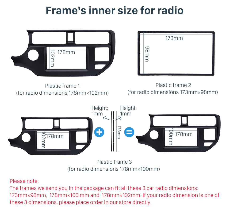 Seicane New 2Din 2011 2012 2013 KIA K3 RIO Left Hand Drive with SRS Hole Car Radio Fascia Audio Frame Stereo Install Panel Kit