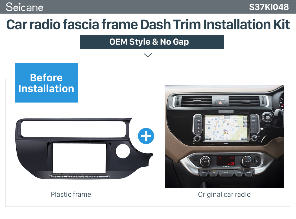 Seicane UV Black 2Din 2015 KIA K3 RIO Right Hand Drive Car Radio Fascia Audio Cover Trim Install Frame DVD Panel
