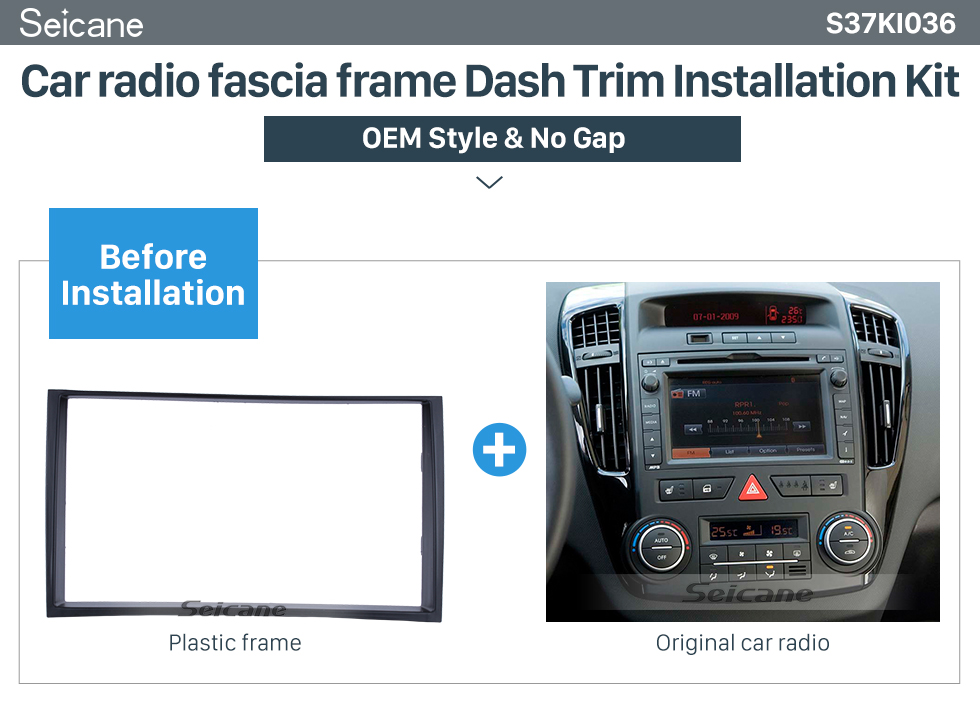 Seicane Black Double Din 2009 2010 2011 2012 2013 2014 KIA VENGA Car Radio Fascia In Dash Mount Kit Install Frame Audio Player