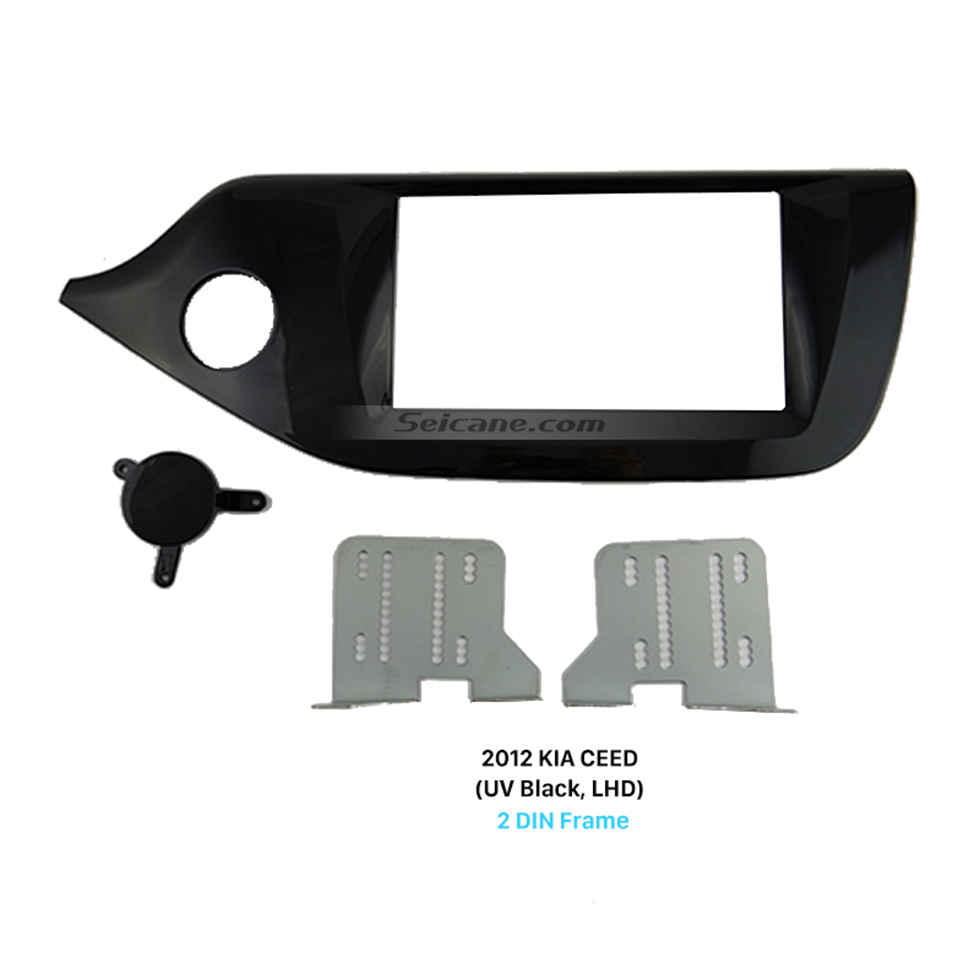 Seicane UV Black 2Din Car Radio Fascia for 2012 2013 2014 KIA CEED Left Hand Car Face Plate Panel Dash Kit Trim Installation