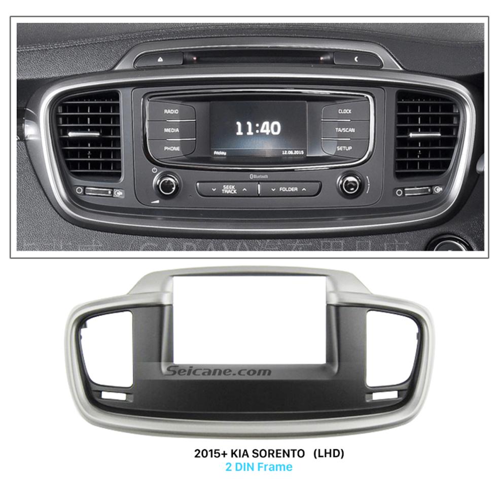 Seicane Black 2Din Car Radio Fascia for 2015+ KIA SORENTO Left Hand Car Stereo Dash CD DVD Frame Dashboard Pane