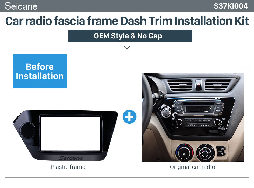 Seicane UV Black 2Din Car Radio Fascia for 2011 2012 KIA RIO OPTIMA K2 Frame Panel Trim Installation Kit Audio Player
