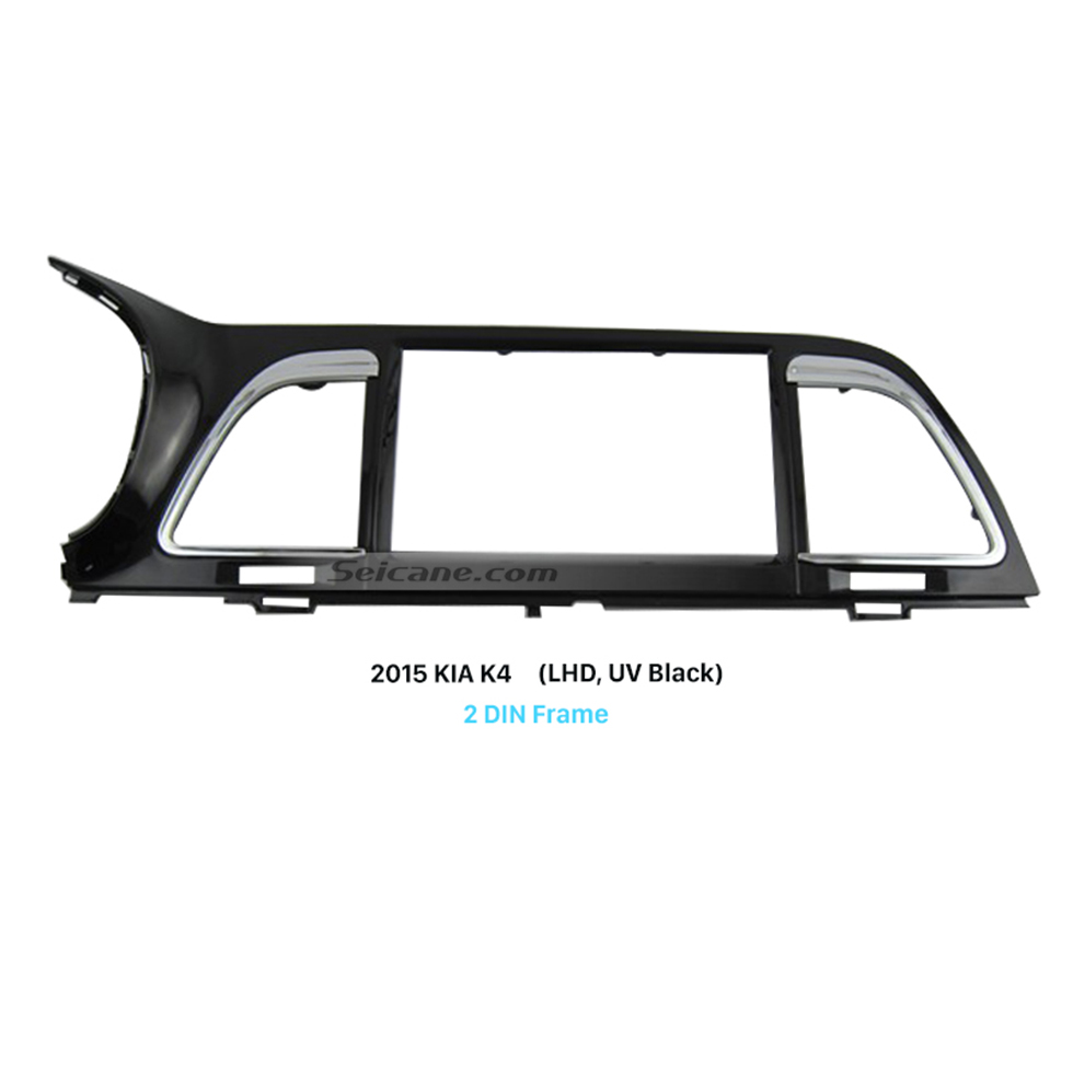 Seicane UV Black Double Din Car Radio Fascia for 2015 KIA K4 Left Hand Car Trim Installation Surround Panel Face Plate
