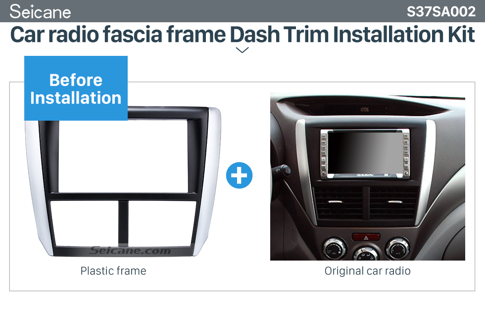 Seicane Black Double Din Car Radio Fascia for 2008 2009 2010-2013 Subaru Forester Impreza Fitting Frame Dash CD DVD GPS Surround Panel