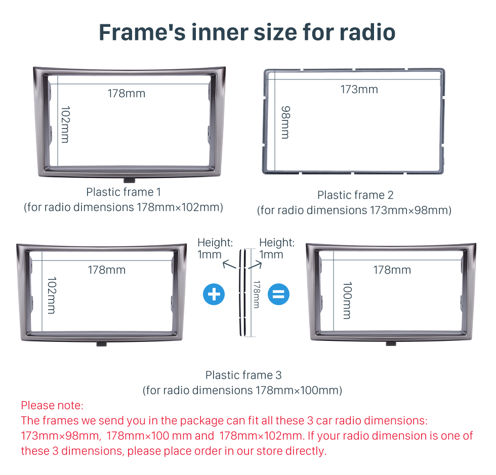 Frame's inner size for radio 173*98/178*100/178*102mm Double Din Car Radio Fascia for 2010+ Subaru Legacy DVD Stereo Trim Panel Dash Mount Plate Frame
